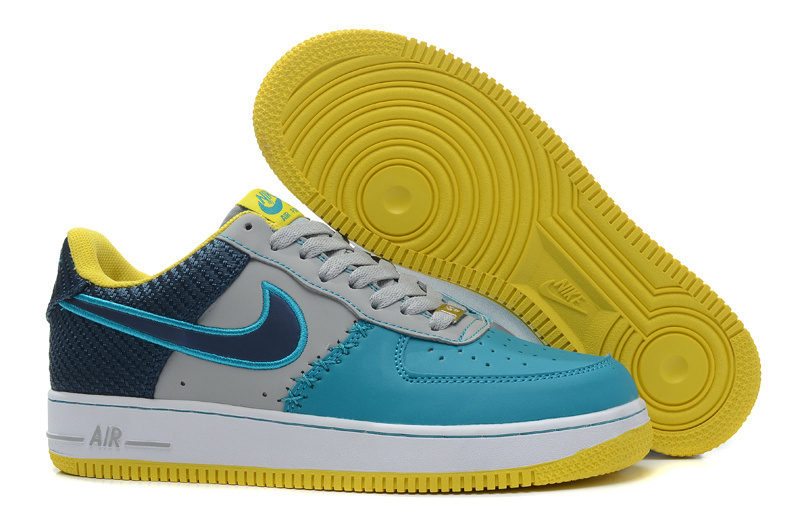 Nike Air Force 1 Low Blue Grey Yellow Sneaker